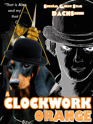 Painting - Dachshund Art Canvas Print - A Clockwork Orange Movie Poster by Sandra Sij