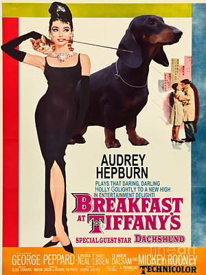 Painting - Dachshund Art Canvas Print - Breakfast At Tiffany Movie Poster by Sandra Sij