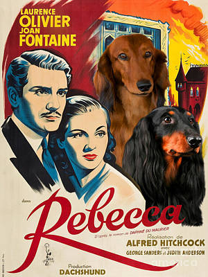 Painting - Dachshund Art Canvas Print - Rebecca Movie Poster by Sandra Sij
