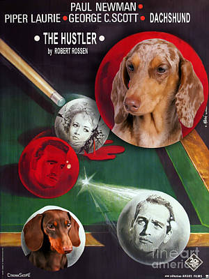 Painting - Dachshund Art Canvas Print - The Hustler Movie Poster by Sandra Sij