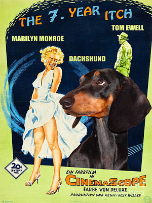 Painting - Dachshund Art Canvas Print - The Seven Year Itch Movie Poster by Sandra Sij