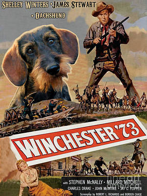 Painting - Dachshund Art Canvas Print - Winchester 73 Movie Poster by Sandra Sij