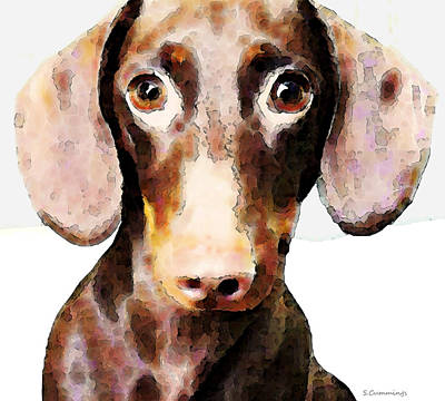 Dachshund Art - Roxie Doxie Art Print by Sharon Cummings
