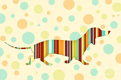 Dachshund Fun Colorful Abstract Art Print by Natalie Kinnear