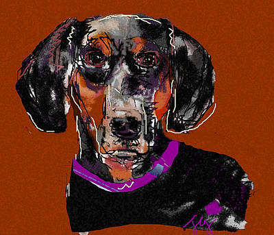 Digital Art - Dachshund by Joyce Goldin