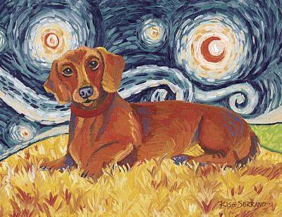 Dachshund On A Starry Night Art Print by Gretchen Kish Serrano