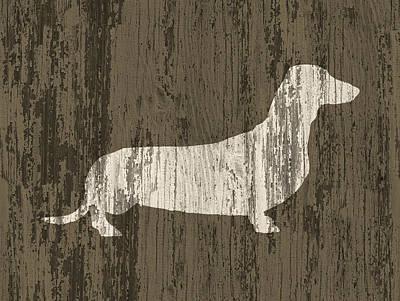 Dachshund On Wood Art Print
