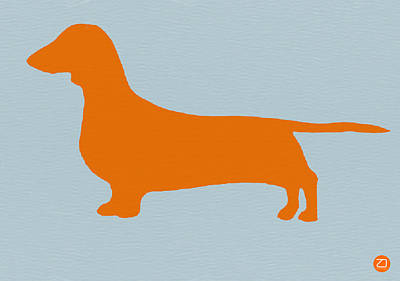Colorful Dog Wall Art - Digital Art - Dachshund Orange by Naxart Studio