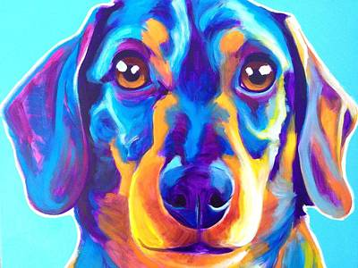 Dawgart Painting - Dachshund - Oscar by Alicia VanNoy Call