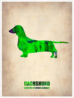 Cute Dog Digital Art - Dachshund Poster 1 by Naxart Studio