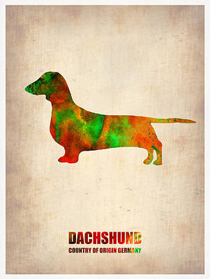 Puppy Wall Art - Painting - Dachshund Poster 2 by Naxart Studio