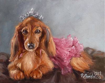 Dachshund Oil Painting - Dachshund Princess by Viktoria K Majestic