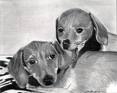 Dachshund Puppies Dog Portrait  Art Print by Olde Time  Mercantile