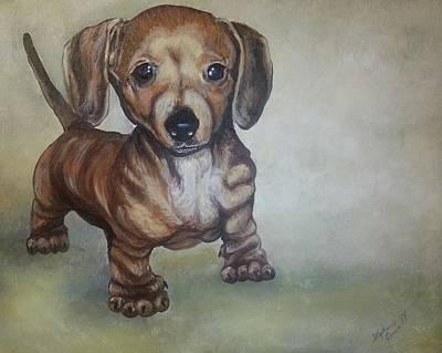 Weiner Dog Painting - Dachshund Puppy by Stephanie Dunn