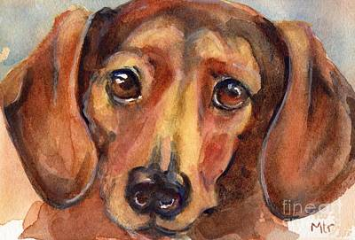 Dachshund Art Painting - Dachshund Watercolor by Maria's Watercolor