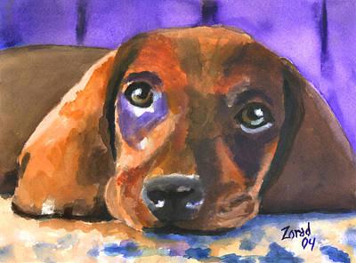 Dachshund Watercolor Art Print by Mary Jo Zorad