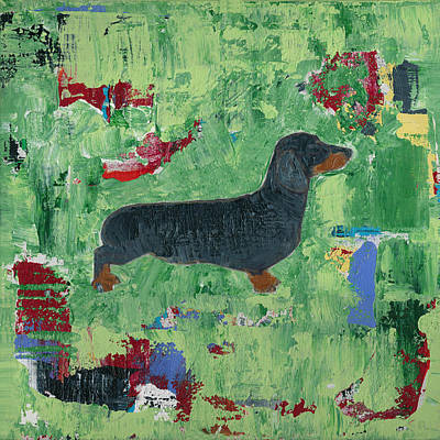 Weiner Dog Painting - Dachshund Weiner Dog Abstract by Shawn McNulty