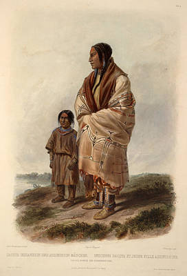 Famous Artists Drawing - Dacota Woman And Assiniboin Girl by Karl Bodmer