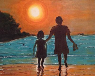 Art Print featuring the painting Dad And Daughter by Brindha Naveen
