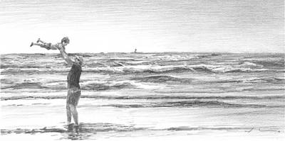 Drawing - Dad And Son Beach Pencil Portrait by Mike Theuer