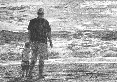 Drawing - Dad And Son On Beach Pencil Portrait by Mike Theuer