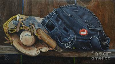 Mitt Painting - Let's Play Catch by Ralph Taeger
