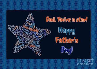 Digital Art - Dad Star Father's Day by JH Designs