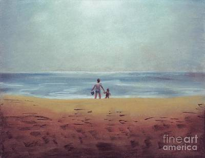 Drawing - Daddy At The Beach by Samantha Geernaert