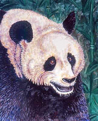 Panda Bear Painting - Daddy Panda by Linda Mears