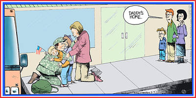 Painting - Daddys Home Military Veteran Homecoming by Tony Rubino