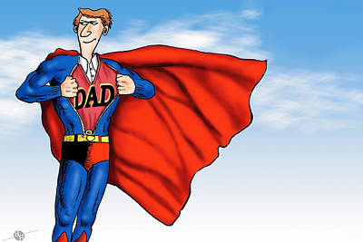 Painting - Daddys Home Superman Dad by Tony Rubino