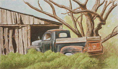 Old Barn Painting - Daddys Pickup by C Wilton Simmons Jr