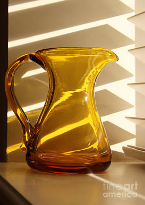 Photograph - Dad's Amber Pitcher By Blenko Glass by Karen Adams