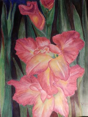 Gladiolas Painting - Dad's Glads by Ronald Shepard