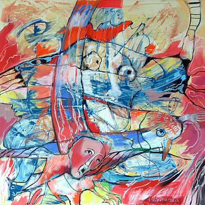 Bir Painting - Daedalus And His Fear Of Fall by Johanna  Leipold