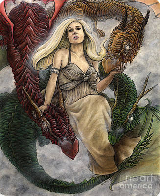 Khaleesi Drawing - Daenerys And Her Dragons by Jason Axtell
