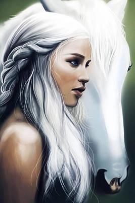 Lannister Painting - Daenerys Targaryen by FHT Designs