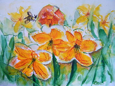Spring Bulbs Painting - Daffies by Elaine Duras