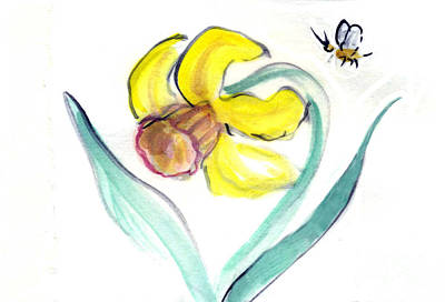 Hitsuzendo Painting - Daffodil And Bee by Ellen Miffitt