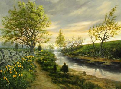 Daffodils Painting - Daffodil Dreams by David Henderson