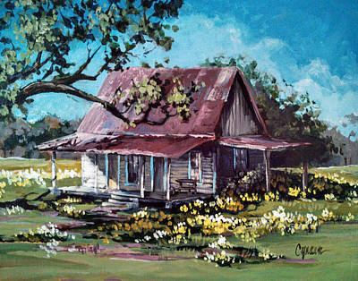 Tin Roof Painting - Daffodil Hill by Cynara Shelton