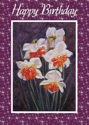 Painting - Daffodil Replete Card by Ruth Soller