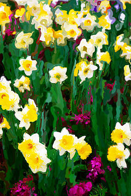 Digital Art - Daffodils In The Garden by David Perry Lawrence