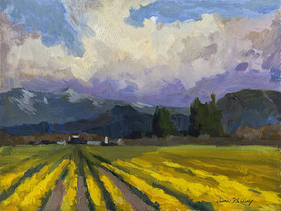 Daffodils Painting - Daffodils And Clouds by Diane McClary