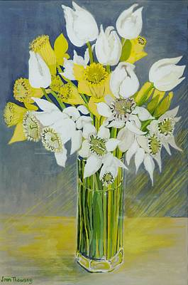 Daffodils And White Tulips In An Octagonal Glass Vase Art Print by Joan Thewsey