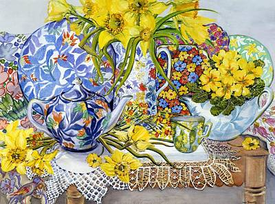 Daffodils Antique Jugs Plates Textiles And Lace Art Print by Joan Thewsey