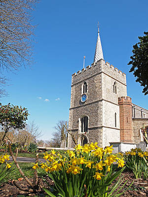 Photograph - Daffodils Blooming At St. Mary's Church by Gill Billington