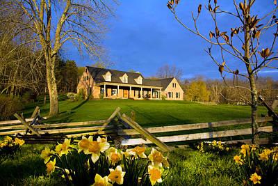 Split Rail Fence Photograph - Daffodils Depict Spring Home by Randall Branham