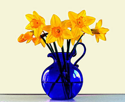 Blue Flower Photograph - Daffodils In A Blue Jug by Bishopston Fine Art