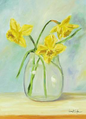 Daffodils In Glass Vase Original by Jean Costa